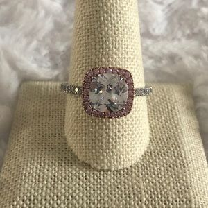 Pink & white halo solitaire ring sterling